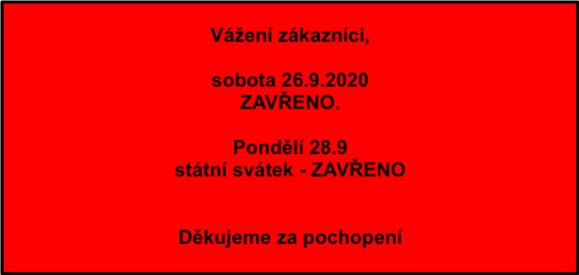 Sobota 26.9.2020 ZAVŘENO